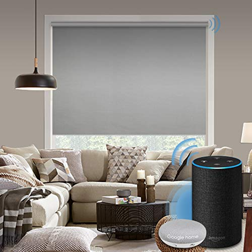 Graywind Motorized 100% Blackout Roller Shade with Alexa Google Smart Home Control Build-in Power Window Shades Thermal Insulated Cordless Window Blinds, Customized Size (Light Gray)