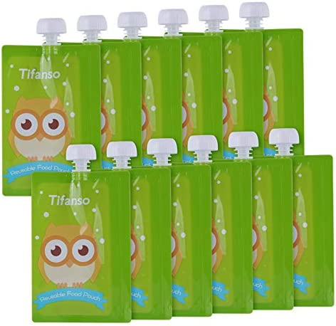12 Pack 7 Oz Owl Reusable Baby Food Squeeze Storage Pouches For Homemade Organic Baby Toddlers Food Easy To Fill Clean Friendly With Leak Proof Double Zipper Refillable Pouch Plus