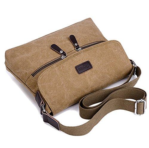 Super moderno lienzo Messenger Bag hombro bolsa iPad bolsa diaria, unidades de oso bolsa de escuela trabajo Bolsa Crossbody Bolsa Para Hombres y Mujeres, hombre, marrón negro