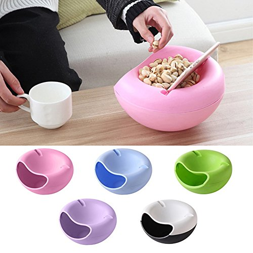 Double Layer Dried Fruit Plate with Cellphone Stand Holder Snacks Dish Container Storage Box (Pink) by Baost (Image #2)