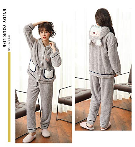 Cute Winter 47 Home Flannel Worn Coral Hat Suit Be Pajamasx Female Can L158 Service Long 57kg Rabbit sleeved Fleece Pajamas Outside Warm 164cm Sggfxqw4
