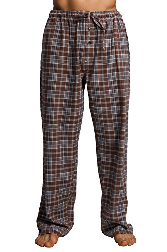 CYZ Men's 100% Cotton Super Soft Flannel Plaid Pajama Pants-BrownTartan-2XL