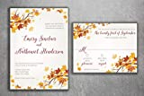 Autumn Wedding Invitation Set, Fall Wedding Invitation, September Wedding Invitations, Leaves, October, Maroon and Orange Wedding Invitation