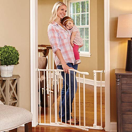 North States 38.25 Wide Arched Auto-Close Baby Gate with Easy-Step Extra-low threshold bar reduces trip hazards. Pressure or hardware mount. Fits 28.5 -38.25 wide 30 tall, Soft White