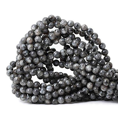 CHEAVIAN 60PCS 6mm Natural Black Labradorite Gemstone Round Loose Beads Crystal Energy Stone for DIY Jewelry Making 1 Strand 15