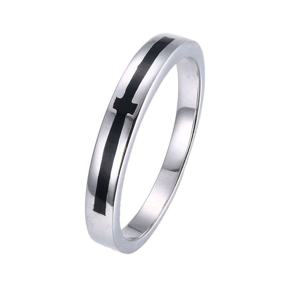 Mrsrui Black Cross Plain Wedding Band Eternity Ring 18k Gold Plated Costume Jewelry