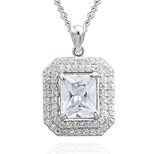 (AMDXD Jewelry Sterling Silver Pendant Necklaces for Women Polygon with Rectangle Cubic Zirconia White)