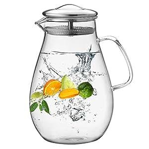 Amazon.com: Hiware jarra de vidrio con tapa de acero ...