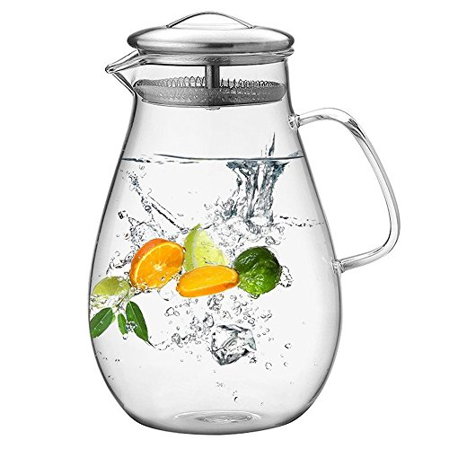 - Hiware 64 Ounces Glass Pitcher with Stainless Steel Lid, Water Carafe with Handle, Good Beverage Pitcher for Homemade Juice and Iced Tea