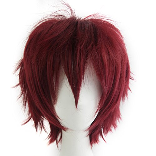 Alacos Unisex Cosplay Short Straight Hair Wig Women Men Rock Cartoon Anime Con Party Dress Wigs Dark Red Wig+ Free Wig Cap