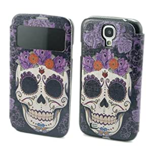 Painting Art Skull Design PU leather Flip Cover Case for Samsung Galaxy S4 S IV i9500