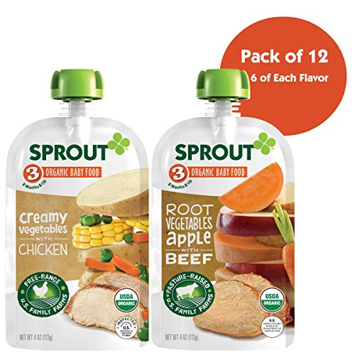 Sprout Organic Baby Food Pouches Stage 3 Meat Variety Pack,Root Vegetables Apple with Beef, Creamy Vegetables with Chicken, USDA Organic, Non-GMO,4 Ounce (Pack of 12)