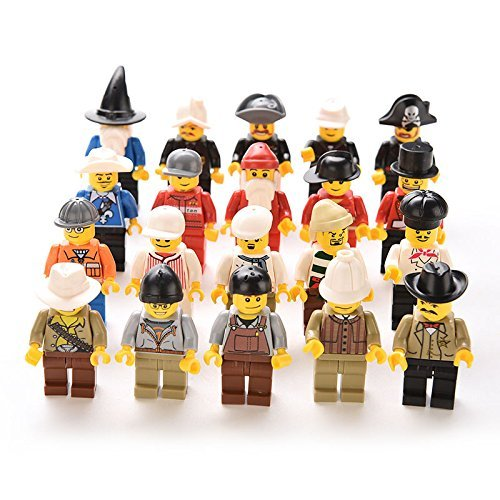 20 Pcs Minifigures Men People Minifigs Grab Bag gift Random Figures Kids Toys - Kings Grill Natural Man