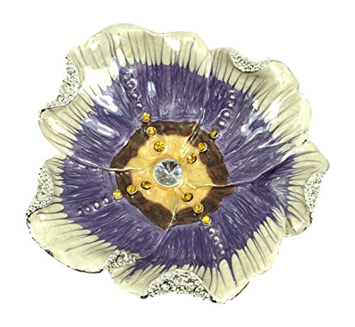 Welforth Hibiscus Flower Blossom Fine Pewter Jeweled Tray, 3 Diameter