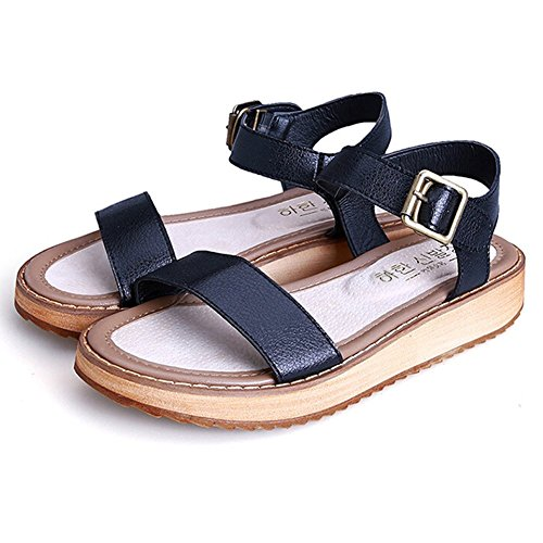 ANDAY Women's Casual Vintage Summer PU Leather Thick Platform Roman Sandals Black DRDj2mPx