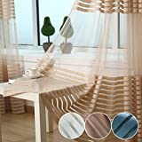 XJG Modern Upscale Sheer Curtains Living Room Window Tulle Blackout Curtains Woven Stripe Window Screening Light coffee one size