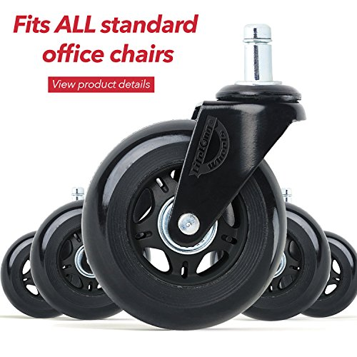 Office chair wheels set of 5 chair caster Wonder Wheels universal fit by Wonder Wheels