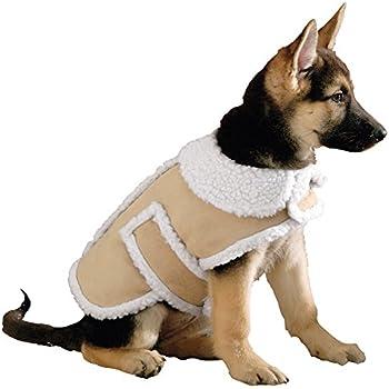 Amazon.com : Shearling Fleece Dog Winter Coat, Tan, Medium : Pet ...