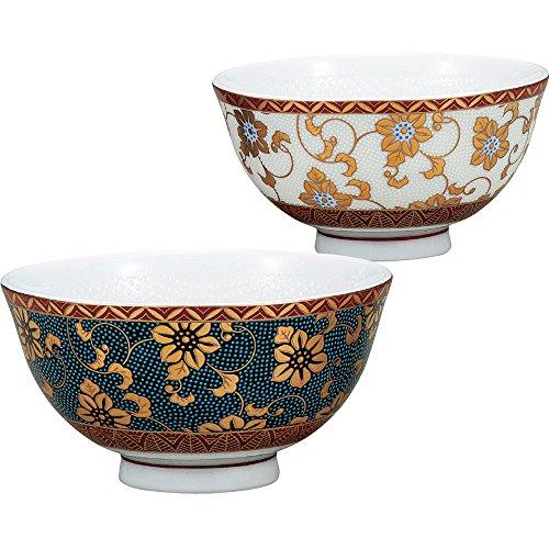Kutani Yaki(ware) Japanese Pair Rice Bowl Gold Clematis by Kutani