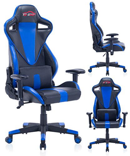 Top Gamer Gaming Chair PC Computer Game Chairs for Video Game (Blue-008) Top Gamer