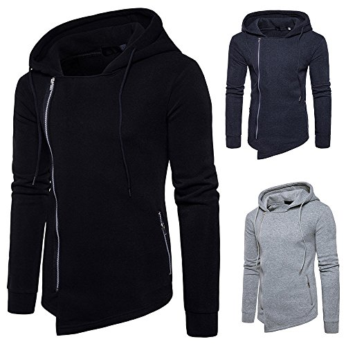 Forthery Men's Irregular Pullover Fleece Hooded Zipper Sweatshirt (Tag S = US XS, Dark Gray)