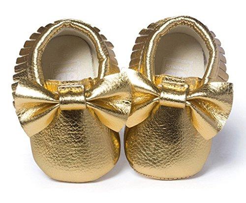 Bebé suave soled Piel Mocasín Borla de Slip-On bebé zapatos de bebé prewalker B Talla:Tamaño de la etiqueta 14 =6-12 Meses: 11.99 cm A