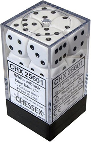12 Dice - Chessex Opaque 16mm D6 White/Black Dice Block 12 Pipped Dice, Multicolor