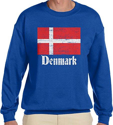 - Amdesco Men's Faded Flag of Denmark, Danish Country Flag Crewneck Sweatshirt, Royal Blue Small