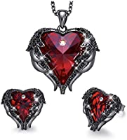 MXIN Angel Wing Heart Necklaces and Earrings Embellished with Crystals from Swarovski 18K White Gold Plated Jewelry Set...