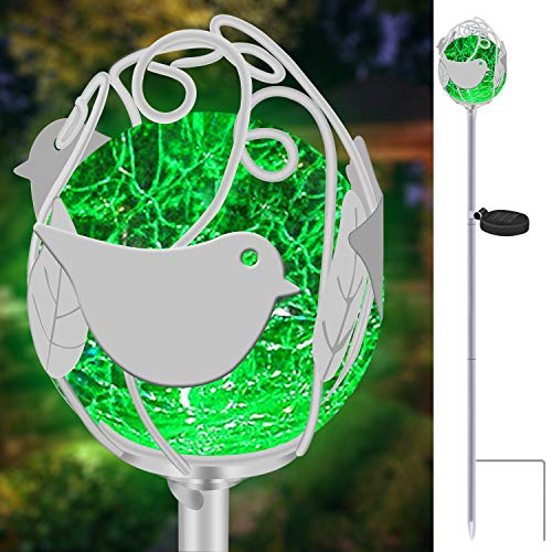 (Garden Solar Powdered Lights Outdoor, VUV Metal LED Stake Lights Crackle Glass Waterproof Pathway Lights with 7 Auto Changing Colors for Landscape Patio Yard Holiday Decoration (Bird))