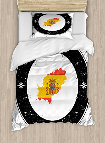 Lunarable Ibiza Twin Size Duvet Cover Set, Grunge Monochrome Round Frame with Compass Stars and Spain Flag Motif, Decorative 2 Piece Bedding Set with 1 Pillow Sham, Vermilion Yellow and Black by Lunarable