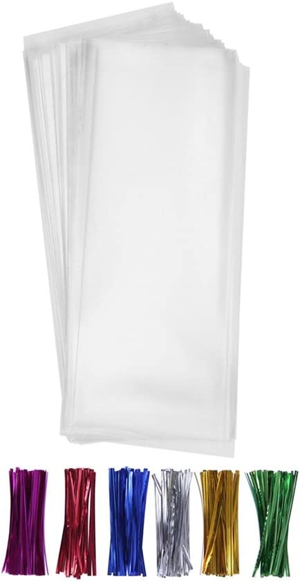200 Clear Treat Favor Bags 3X11 with Twist Ties 6 Mix Colors - 1.4mils Thickness OPP Plastic Bags (3'' x 11'')