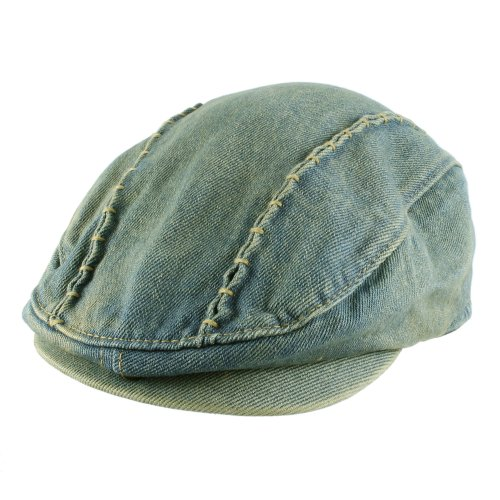 Morehats Denim Newsboy Flat Cap Gatsby Ivy Irish Cabbie Driver Hunting Hat - Light Jean