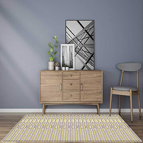 Water-Repellent Rugs Wavy Horizontal Lines and Dots Pattern Repeating Form Print Light Yellow and Purple Anti Bacterial,Latex