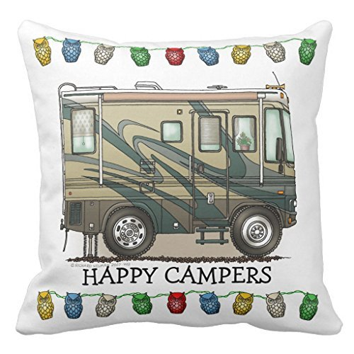 Cute Happy Camper Big Rv Coach Motorhome Decorative Pillow Case with Invisible Zipper Canvas Throw Pillow Cover for Sofa and Couch 16 x 16
