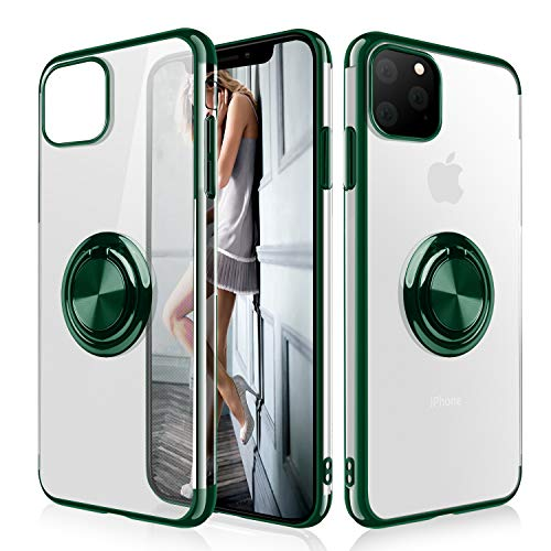 WATACHE iPhone 11 Pro Case, Clear Crystal Ultra Slim Soft TPU Electroplated Frame Case Cover with Built-in 360 Rotatable Ring Kickstand for iPhone 11 Pro,Blackish Green