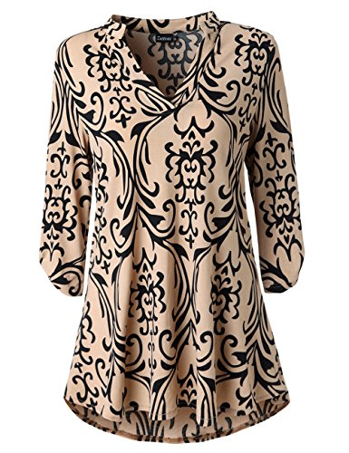 3/4 Tunic Top - Zattcas Womens Floral Printed Tunic Shirts 3/4 Roll Sleeve Notch Neck Tunic Top (X-Large, Black Taupe)
