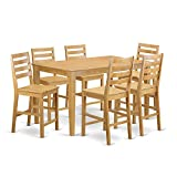East West Furniture CACF7H-OAK-W 7 Pc Counter Height Set – high Table and 6 dinette Chairs.