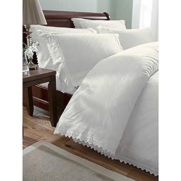 Bedmaker housse de couette blanc broderie anglaise x cm - Housse de couette motif anglais ...
