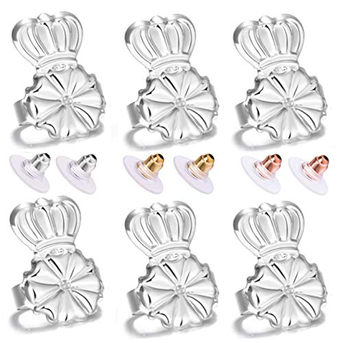 Magic Earring Lifters and Earring Backs Pack - 3 Pairs of Hypoallergenic Adjustable Earring Lifts and Earring Bullets Backs - Perfect for Drooping Earrings (3 Silver)