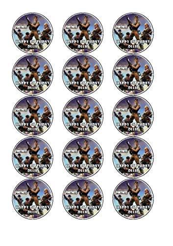 fortnite glaseado comestible adornos de Cupcake x 12 (Design 1)
