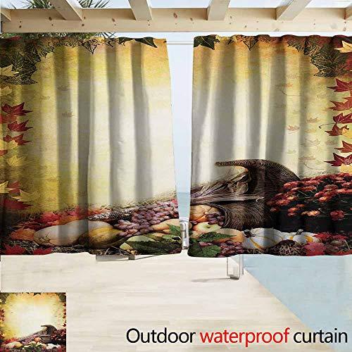 (Wlkecgi Harvest Pergola Curtain Autumn Themed Image Pale Colored Background Vegetables in Cornucopia Illustration Room Darkening, Noise Reducing W55 xL72 Multicolor)