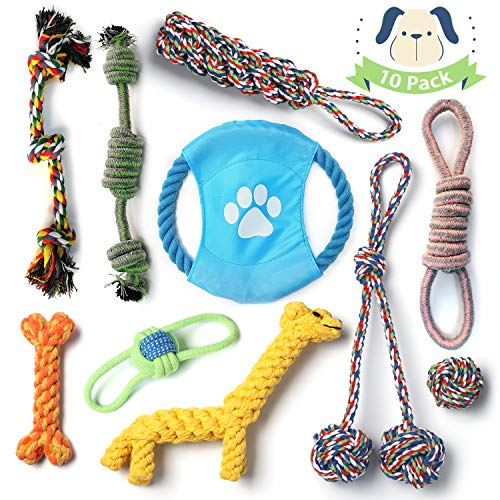LSD Dog Rope Toys for Aggressive Chewers,10 Pack Dog Chew Toys for Small & Medium Dogs,Dog Toy Set Cotton Rope for Dogs…