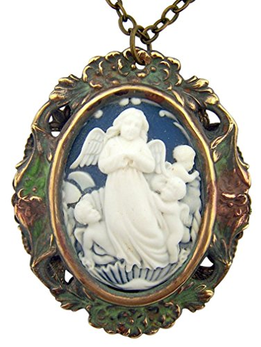 Guardian Angel 2 3/8 Inch Antique Style Cameo Pendant ()