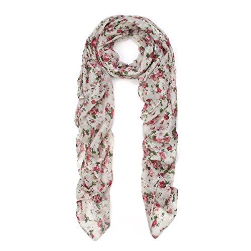 Fashion Scarf Wrap, Off White (White Floral Scarf)