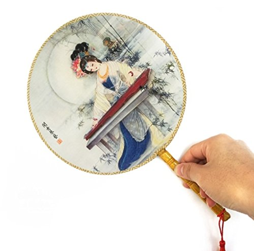 Colorful Retro Vintage Ancient Lady Photography Classical Palace Round Hand Fan Party Favors Shower Gifts by Hand Fan