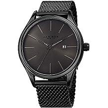 Akribos XXIV Black and Gunmetal Designer Men's Watch – Classic and Casual Round Stainless Steel Mesh Fashion Bracelet Wristwatch – AK959BKGN