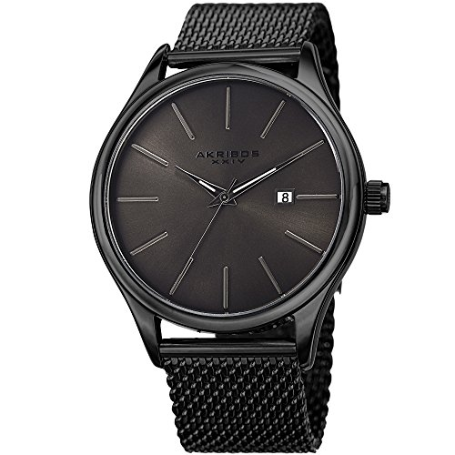 Akribos XXIV Black and Gunmetal Designer Men's Watch – Classic and Casual Round Stainless Steel Mesh Fashion Bracelet Wristwatch – AK959BKGN
