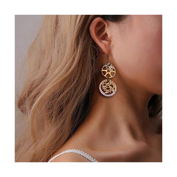 Steampunk Gears Clock Circle Earrings Vintage Personalized Gold Silver jewelry machine parts Women Ear Hook 4