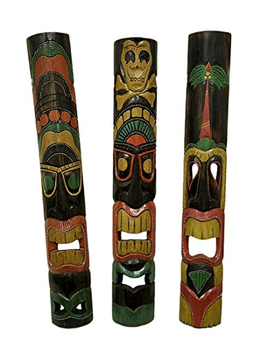 Decorative African Wood (Set of 3 Hand Carved Island Style Polynesian Tiki Masks 39 In.)
